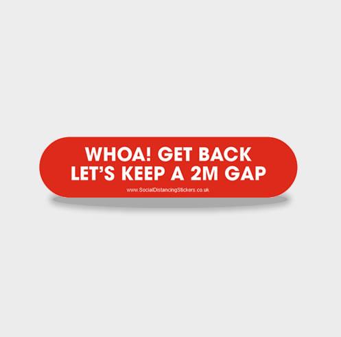 WHOA GET BACK LINE - Social Distancing Floor Stickers