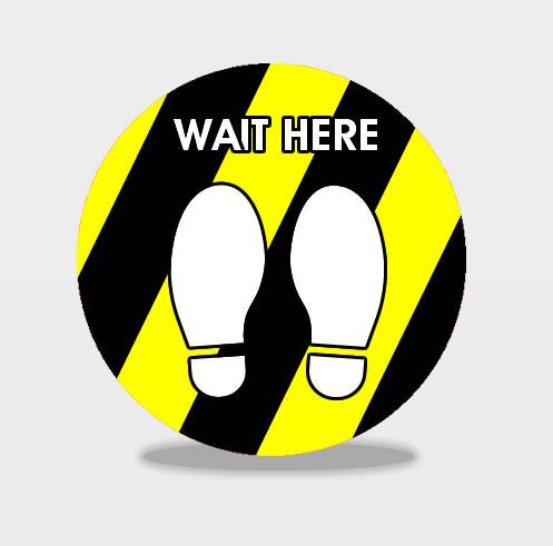 Wait Here Hazard Social Distancing Floor Stickers