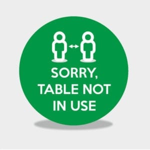 Table Not In Use Sticker